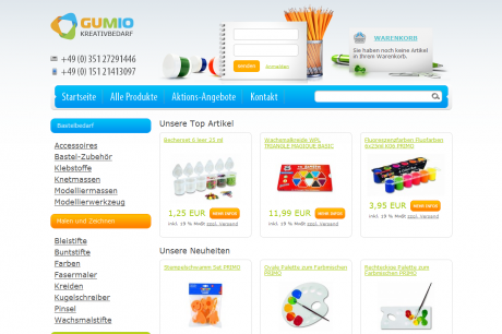 Onlineshop Gumio.de Webdesign