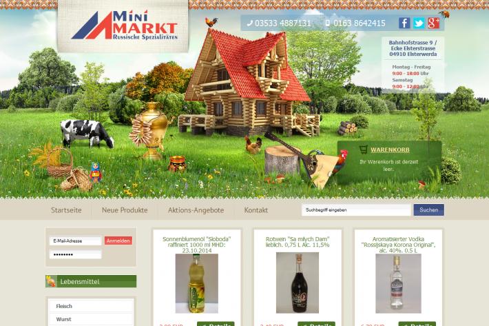 Minimarkt Russische Spezialitätet Webdesign