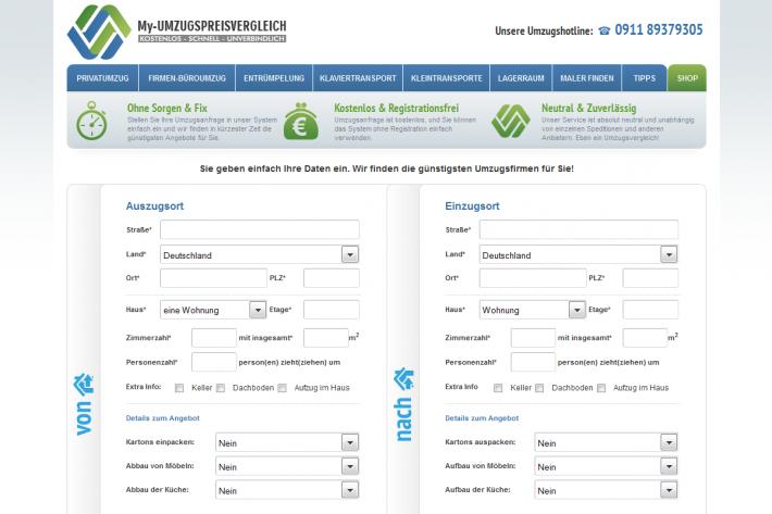 My-Umzugspreisvergleich Vergleichsportal Webdesign