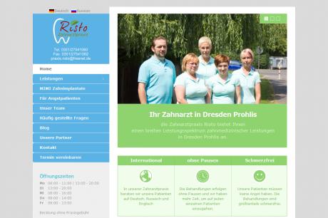 Webseite für Zahnarztpraxis Risto Dresden